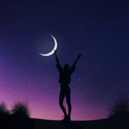 purple success power stars moon freetoedit