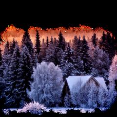 ftestickers house trees winter snow scenery freetoedit