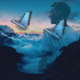 doubleexposure double butterfly freetoedit