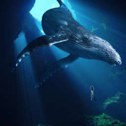 cave underwater ocean see girl diving diver whale freetoedit
