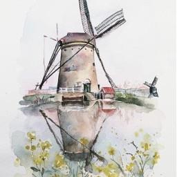 windmill drawing netherlands freetoedit