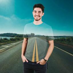 freetoedit boy cute road doublexposure