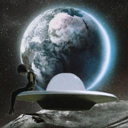 freetoedit planetearth ufo girl