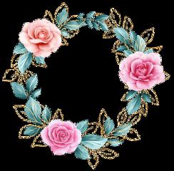 rose wreath golden glitter floral freetoedit