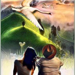 pintura oleo naturaleza pareja amor freetoedit