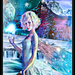 freetoedit angel woman snow sky