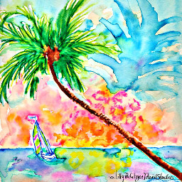 freetoedit palmtree beach ocean sailboat