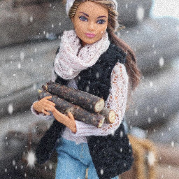 freetoedit remixit barbie toy logs scarf