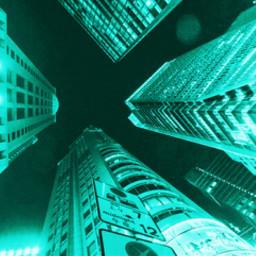 freetoedit cyan aesthetic lights city