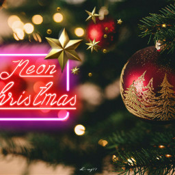 freetoedit christmas tree balls red