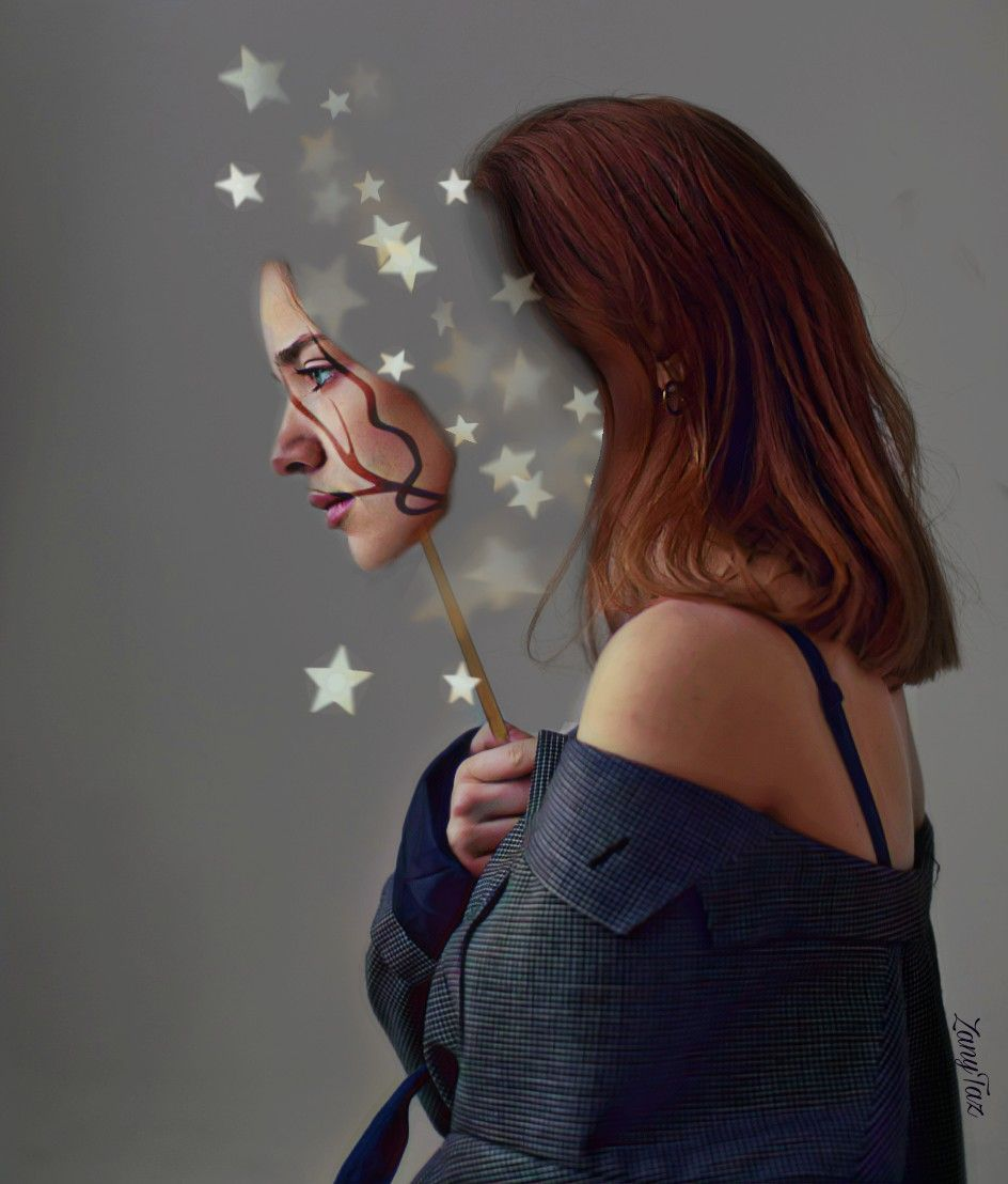 """For newcomers: I wrote a #stepbystep written verbal #tutorial. Just scroll down and follow the instructions. (Screenshot it to make it easier for you)   Quote for the image:  ✨ #Stars :In these dark and uncertain times, there can be great value in imagining a bit of#starin each human soul.✨💗 #believeinyourself #strengthfromwithin #beyourownkindofbeautiful  #myedit #magiceffectstars #magiceffect #magicbrusheffect 🌿 Happy Weekend All💗✨☺️ #freetoedit    WRITTEN VERBAL TUTORIAL for those that are interested in learning how I did this.  1. I used the #scissor #cuttool to cut the face first. Then hit save. The #sticker you cut will be saved in your stickers file. You can use it over and over again anytime. (I click backwards until I get the full original image back) 2. Then GO to the toolbox, which is, a gridlike icon on your menu bar. Click on that then... click on the #clone icon. I used the clone tool to erase her face by tapping on an empty area which will copy that spot and I begin to erase the face by cloning the background. Once that's done. Click ✅ 3. I then go to stickers and I type in search for a """"stick"""". Found one I like and I placed it in the hand of the model. 4. Now, I want to add the model's original face back on. So I go into my saved stickers look for the face cutout, click on it and then place the face on the stick in an angle. Make sure the face is balanced with the body. 5. The final step: go to the fun #magicbrushes icon and in this case I liked the stars. Clicked on stars and brushed over from the empty face area and out and you will have a mimic image of my edit. I added a swirly design on her face but that you can leave out.👍  If you're new here...this is what I have to say: Practice makes perfect 💙🤗✨ Everyone can do this."""