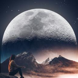 freetoedit moon mountain galaxy girl