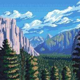 8bit pixel pixelized forest mountains