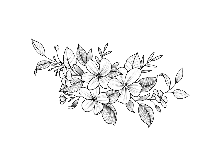 #flowers #white #black #outline #aesthetic #floral #design #freetoedit