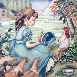 freetoedit girl garden chicken dress srcrainbowstroke