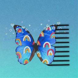 freetoedit butterfly aesthetic blue rainbow srcrainbowstroke rainbowstroke