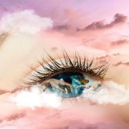 freetoedit eye eyecloseup clouds sunset