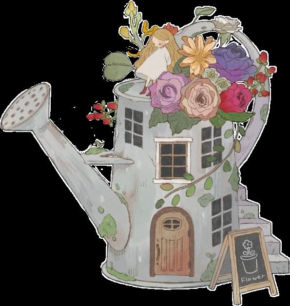 #flowers #illustration #folkart #fantasy #garden #wateringcan #drawing #art #pixiv #fairytale #house #vintageaesthetic #folkartaesthetic #flowers #floral #Houtoku173