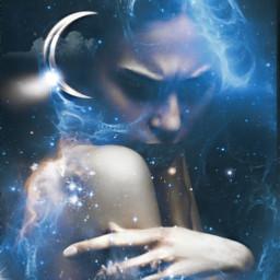 freetoedit artisticportrait universe blue remixed