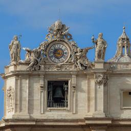 clock rome blue sky architecture