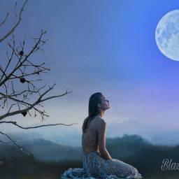 freetoedit blue moon mountains landscape