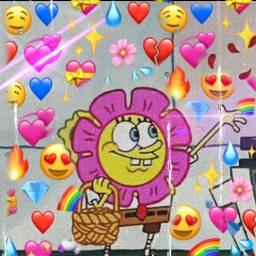 freetoedit love heart spongebob emoji