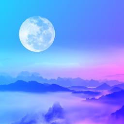 freetoedit sky moon blue pink