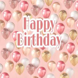 freetoedit happybirthday pinkballoon goldballoon honeymg444