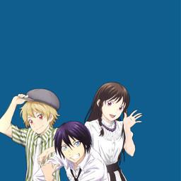 freetoedit noragami anime blue wallpaper