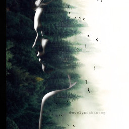freetoedit doubleexposure woman forest
