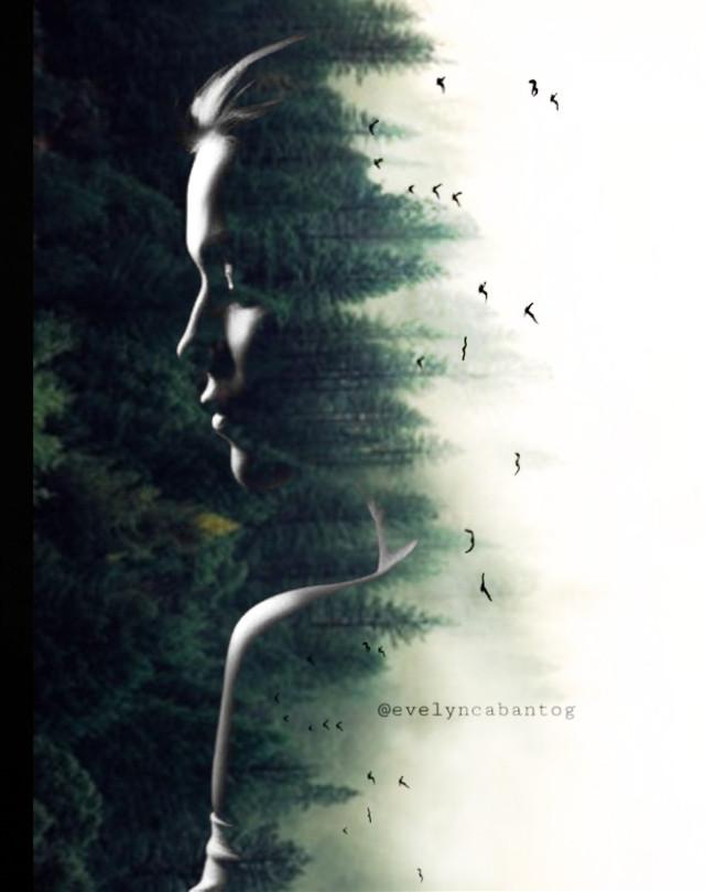 #freetoedit #doubleexposure #woman #forest