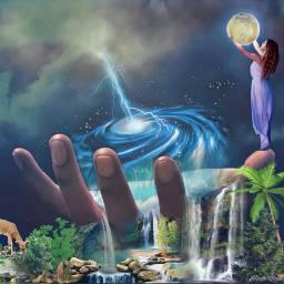 freetoedit landscape waterfall fantasy storm ircuniverseinyourhand universeinyourhand