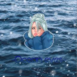 freetoedit billieeilish oceaneyes blue ocean