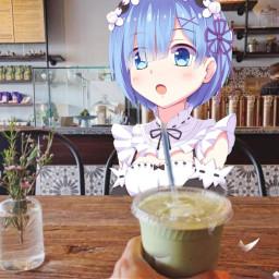freetoedit rem coffee anime imgay