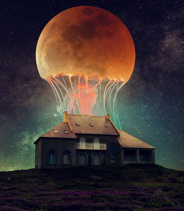 #manipulation #moon #color #nature #lightning #neon #photography #photoshop #jellyfish #house #dubleexposure #myedit #portrait #photography #fish #flowers #animal #wings  #ufo #gold #galaxy #star #sky #colorful #freetoedit #picsart @b_ebrahim88