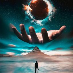 universe hand handedit galaxy moon freetoedit