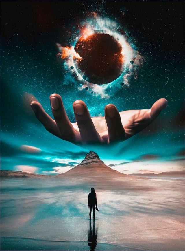 Shoutout to @seyyyahh for winning 1st place 🥇in the 'Universe in your Hand' Image Remix Challenge 🏆 #universe #hand #handedit #galaxy #moon #freetoedit