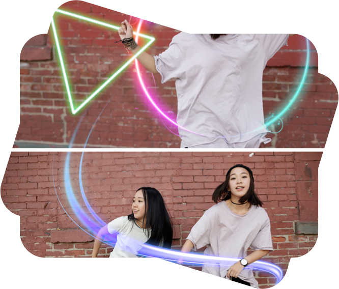 sharp mask image of girls with neon stickers