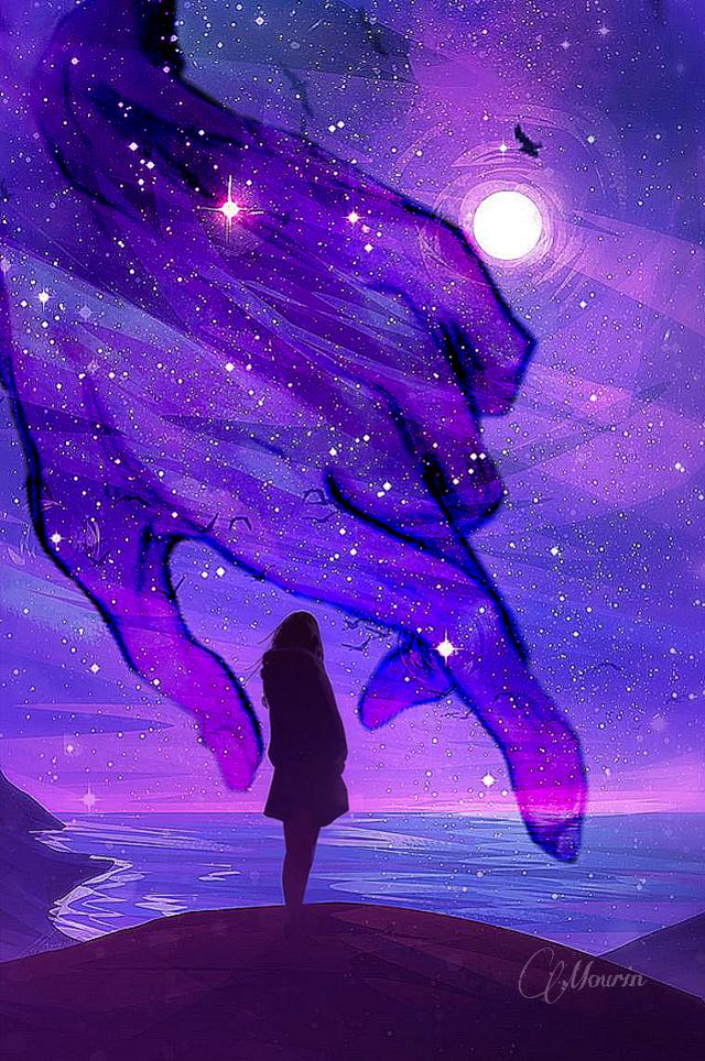 💗❤❤ #FreeToEdit #moon #glaxy #girl#sad#glaxycolor#eveningsky#colorful#love#❤❤❤ #blue#purple# #sky#alone#colorsplash #girl #sad