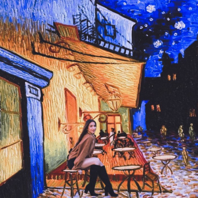 🖼🖌van gogh Man i've been missing out a lot of chat becuz my country is different with y'all when in here is night, well they is day I hate my english jdjsmsjssjmam #vangogh #painting #vangoghpaintings #art #vangoghart #vangoghstyle #cafe #vintage #aesthetic #sitting  #freetoedit