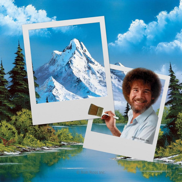 "Create your own reality! 👨🏼‍🎨☀️🌀 Channel your inner Bob Ross with our exclusive ""The Joy of Painting"" with Bob Ross Templates, Backgrounds and Stickers: https://bit.ly/2tnaKkU And remember, ""We don't make mistakes, just happy little accidents."" 😄#freetoedit"