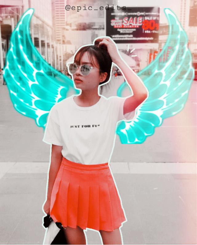 #freetoedit #wings #girl #city #remix