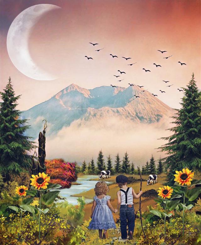 #freetoedit #myedit #madewithpicsart #editedbyme #editedwithpicsart #edited @picsart #picsart #remixit #fte #nature #landscape #child #animal #magiceffects #moon