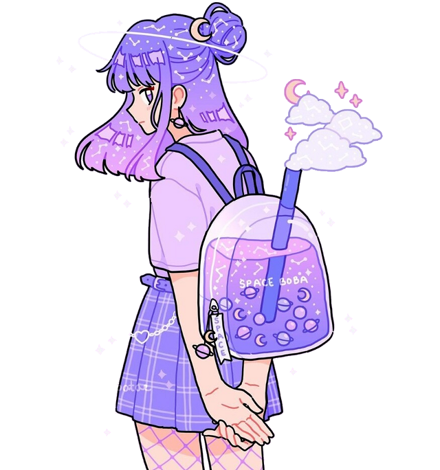 #clouds #skirt #aesthetic #aes #backpack #space #cute #kawaii #tumblr #retro #purple #pink #soft #anime #anime_girl