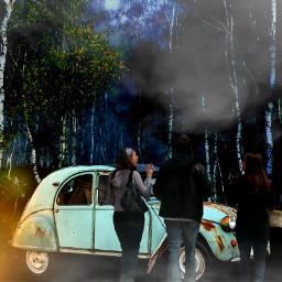 freetoedit lampu mobil hutan pemandangan