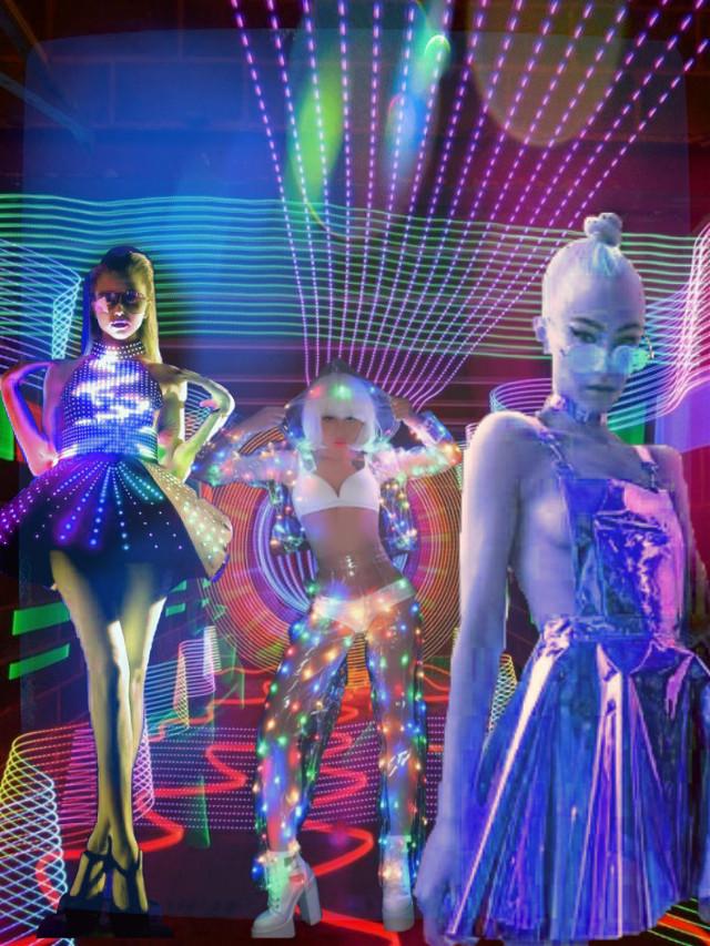 #freetoedit #NeonNights #FashionArt #RunwayLights #FashionForeward #SuperModels #remixedbyme