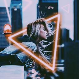 neon girl city freetoedit