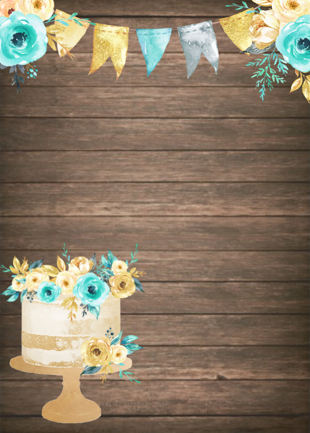 #freetoedit #card #invitation #wallpaper #background #floral #flowers #watercolor @stephaniejordan53 #cake #birthday #specialoccasion #baby #turquoise #teal #gold #wooden #rustic #banner