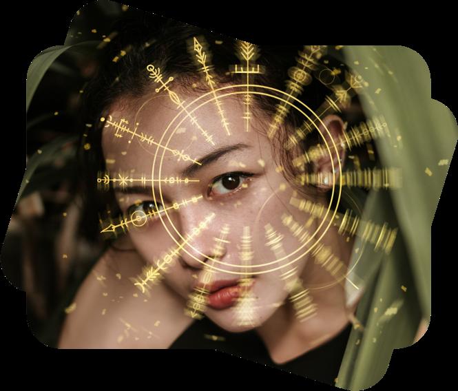 black hair girl face with photo overlays