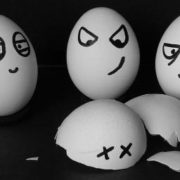 freetoedit ostern easter eggs eier schwarzwei